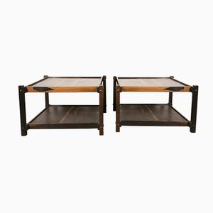 Two Tiered Square Tables in Rosewood by Sergio Rodrigues, 1960s, Set of 2