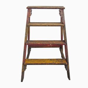 Industrial Wooden Archive Ladder, 1950s