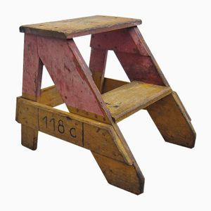 Industrial Archive Stool in Wood, 1950s