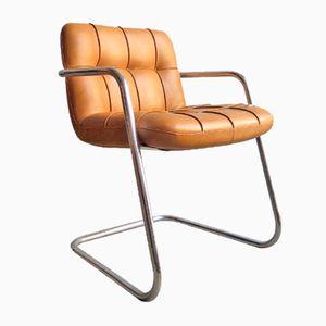Sedia da ufficio vintage in ecopelle color cammello