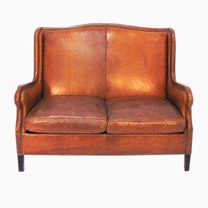Vintage Scandinavian Sofa in Brown Leather