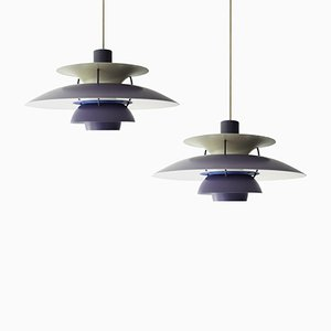 Vintage PH5 Violet Pendants by Poul Henningsen for Louis Poulsen, Set of 2