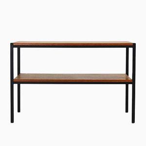 Mid-Century Modern Veneered Teak and Steel Side Table