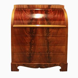 Handpolished Mahogany Bureau with Inlaid Fruit Wood, 1880s
