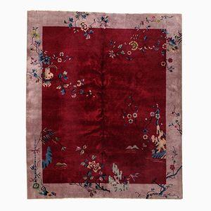 Handgeknüpfter Roter Chinesischer Teppich, 1920er