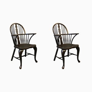 Black Painted Windsor Armchairs, 1880s, Set of 2