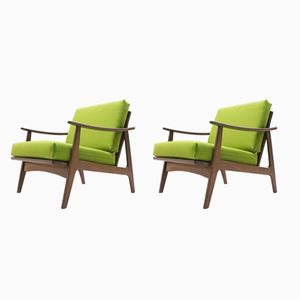 Mid-Century Scandinavian Green Armchairs, 1950s, Set of 2