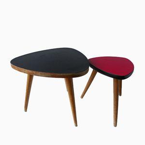 Tische in Rot & Schwarz, 1960er, 2er Set
