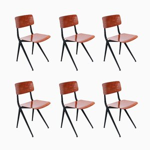 Vintage Industrial Pagwood School Chairs by Ynske Kooistra for Marko, Set of 6