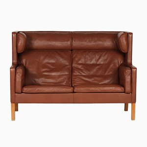 Danish 2192 Leather and Oak Coupe Sofa by Børge Mogensen for Fredericia Furniture, 1970s