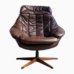 Vintage Brown Leather Egg Chair from Bramin