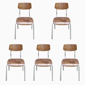 Industrial Factory Chairs, 1970s, Set of 5