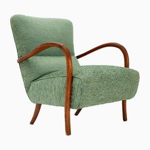 Italian Armchair with Wooden Armrest, 1940s