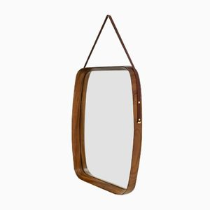 Mahogany and Leather Wall Mirror, 1950s