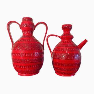 Vintage Large Red Glaze Vases by Bitossi, Set of 2