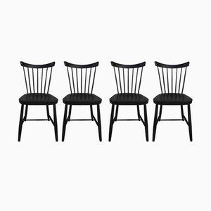 Schwarz Lackierte Vintage Stühle, 6er Set