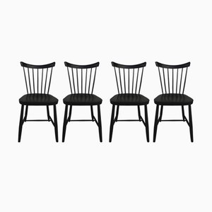 Vintage Black Lacquered Chairs, Set of 6