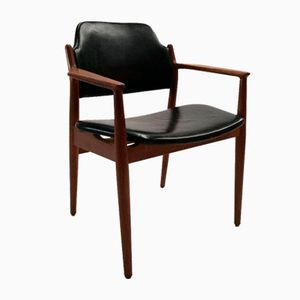 Teak and Leather Model 62A Armchair by Arne Vodder for Sibast, 1960s
