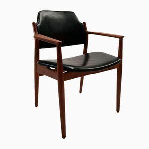 Teak und Leder Modell 62A Armlehnstuhl von Arne Vodder für Sibast, 1960er