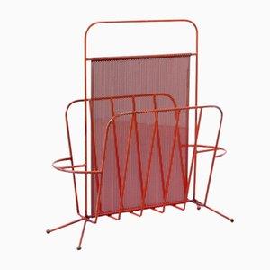 Portariviste vintage in metallo rosso perforato di Artimeta