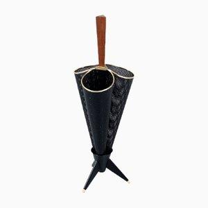 Black Perforated Metal Umbrella Stand, 1950s