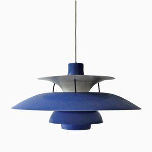 Blaue Vintage PH5 Hängelampe von Poul Henningsen für Louis Poulsen
