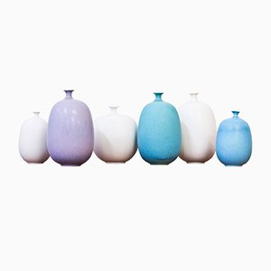 Vintage Stoneware Vases by Inger Persson for Rörstrand, Set of 6