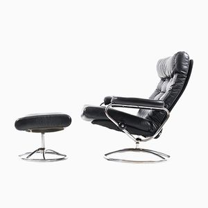 Mid-Century Stressless Lounge Chair and Ottoman from Ekornes