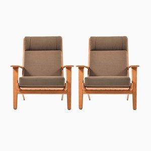 Vintage GE-290 Teak Sessel mit Hoher Rückenlehne von Hans J. Wegner für Getama, 2er Set