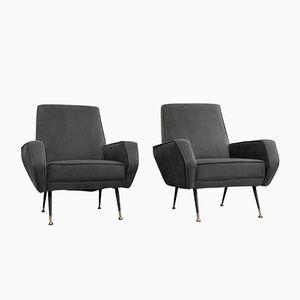 Italienische Sessel in Grauem Samt, 1960er, 2er Set