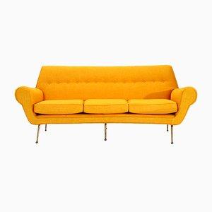 Italian 3-Seater Velvet Sofa with Brass Feet, 1950s