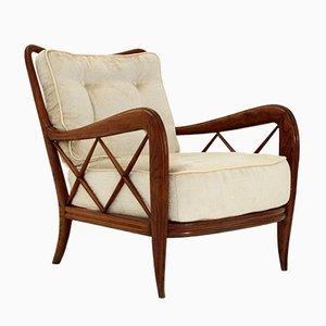 Italian Art Deco Velvet Armchair, 1930s