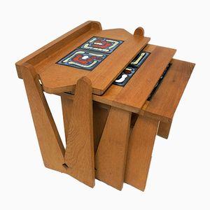 Vintage Nesting Tables with Danikovski Tiles by Guillerme et Chambron for Votre Maison