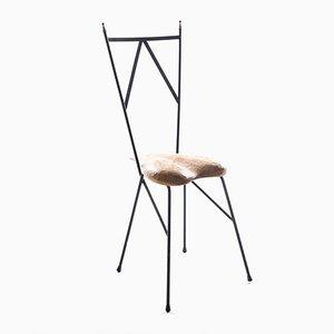 Stuhl aus Eisen und Herzförmigem Holzsitz von Gianni Veneziano, 1997