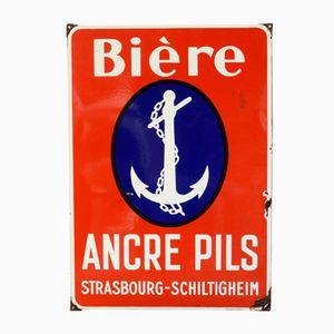 Emaille Wandteller von Émaillerie Alsacienne Strasbourg Hoenheim für Ancre Pils