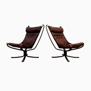 High Back Falcon Chairs by Sigurd Ressell for Vatne Mobler, 1970s, Set of 2