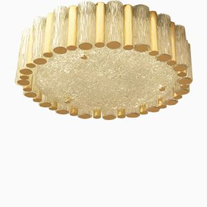 Large Mid-Century Tubular Glass and Brass Ceiling Lamp from Kaiser Leuchten