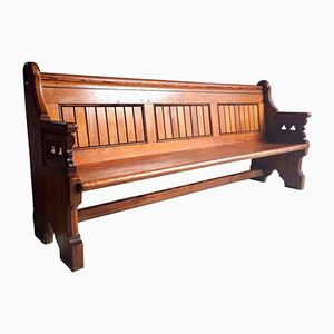 Gothic Revival Pine Church Pew, 1890s