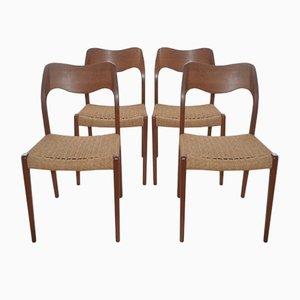Dänische Vintage Modell 71 Esszimmerstühle von Niels Moller für J.L. Mollers, 4er Set