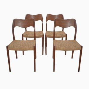 Vintage Danish Model 71 Dining Chairs by Niels Moller for J.L. Mollers, Set of 4