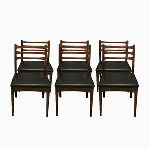 Vintage Stühle aus Kunstleder und Teak, 6er Set