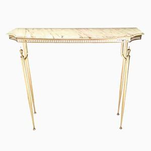 Italian Demilune Marble and Brass Console Table, 1950s