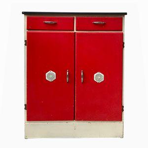 Roter Mid-Century Küchenschrank