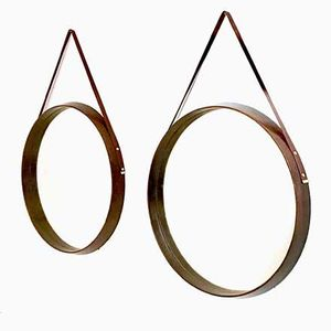 Round Italian Mahogany and Leather Wall Mirrors, 1950s, Set of 2