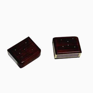 Boîtes d'Allumette en Palissandre avec Incrustations d'Argent, Set de 2