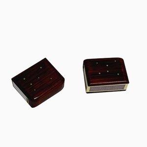 Vintage Silver Inlaid Rosewood Matchbox Sleeves, Set of 2