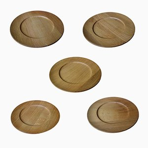 Mid-Century Danish Cover Plates in Oak, Set of 5