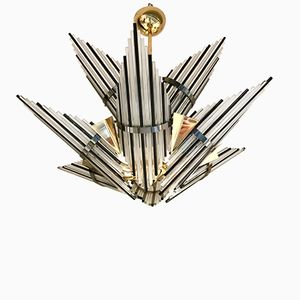 Italian Chandelier with Star Glass Rods and Brass, 1970s