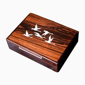 Danish Mid-Century Rosewood Box with Silver Inlays from AS Sterling
