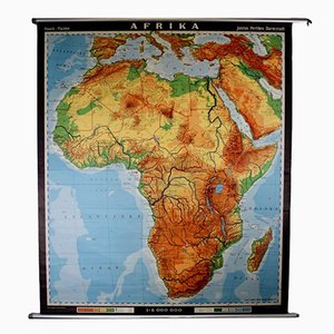Large Mid-Century Danish Educational Map of Africa from V. Richter